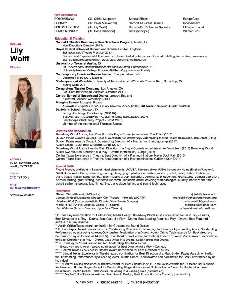 WOLFF Artistic Resume April 2018 - 2