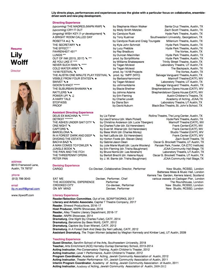WOLFF Artistic Resume April 2018